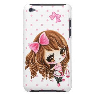 Niña linda con el arco rosado grande funda para iPod de Case-Mate