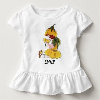 Niña linda divertida del niño de flor del camiseta de bebé