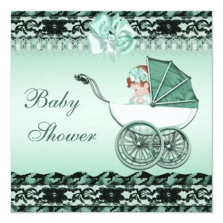 Niña linda en fiesta de bienvenida al bebé verde invitación 13,3 cm x 13,3cm