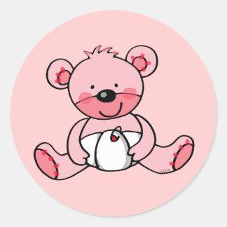 Niña oso de peluche pegatina redonda
