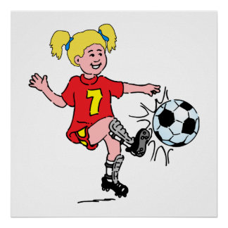 Niña que juega a fútbol póster