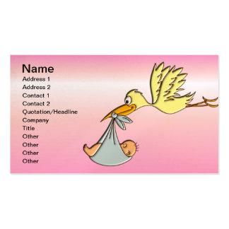 Niña recién nacida - una entrega de la cigüeña del tarjeta de visita