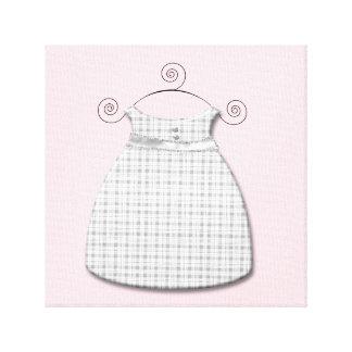 Niña rosada y gris del vestido caprichoso impresiones en lona