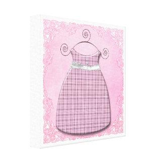 Niña rosada y gris del vestido caprichoso impresión en lienzo estirada