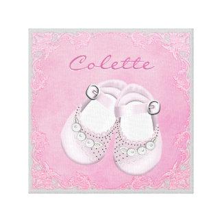 Niña rosada y gris linda de los zapatos de bebé impresiones de lienzo