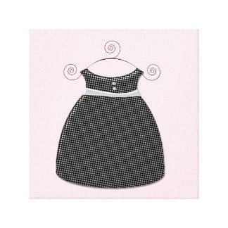 Niña rosada y negra del vestido caprichoso impresiones en lona