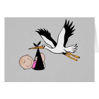 Niña y cigüeña - recién nacidas tarjetón