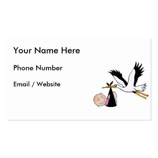 Niña y cigüeña - recién nacidas plantilla de tarjeta de negocio