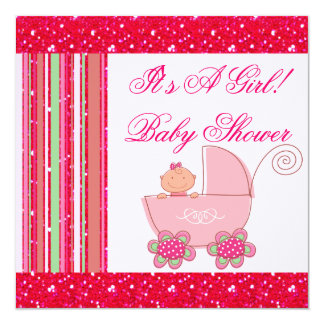 Niña y fiesta de bienvenida al bebé reluciente del invitación 13,3 cm x 13,3cm