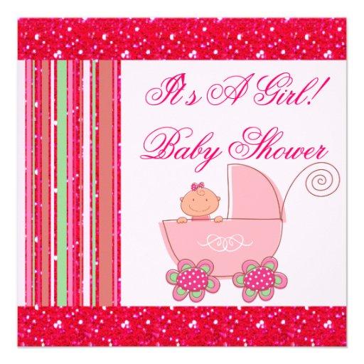 Niña y fiesta de bienvenida al bebé reluciente del invitacion personalizada