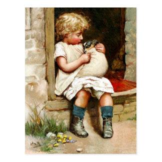 Niña y perrito enfermo postal