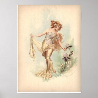 Ninfa antigua del iris de la impresión de la litog póster