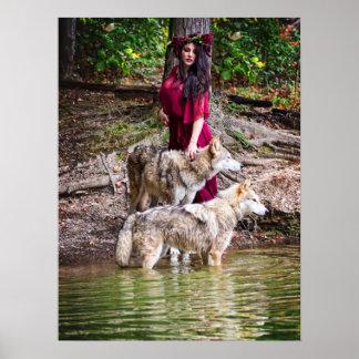 Ninfa del bosque y su manada de lobos póster