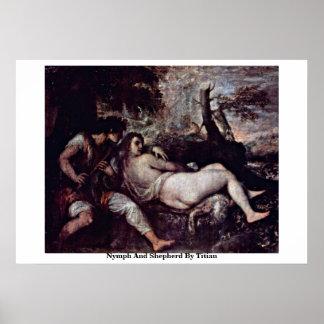 Ninfa y pastor por Titian Impresiones
