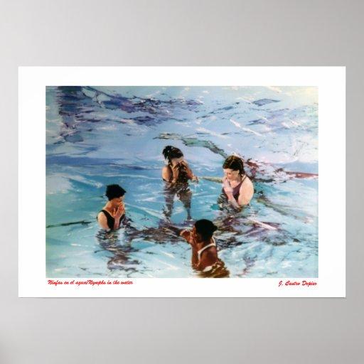 Ninfas en el agua/Nymphs in the water Posters