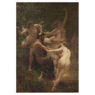 Ninfas y sátiro William-Adolphe Bouguereau Póster De Madera