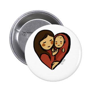 Ningún mayores amor, mamá y bebé chapa redonda 5 cm