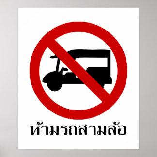 NINGÚN ⚠ tailandés de la señal de tráfico del ⚠ de Póster