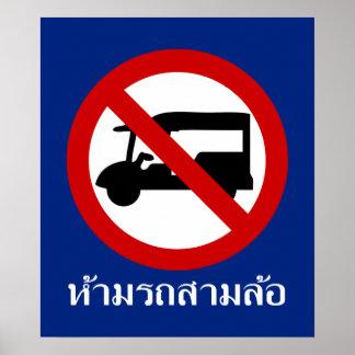 NINGÚN ⚠ tailandés de la señal de tráfico del ⚠ Póster
