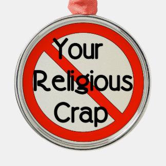 Ninguna mierda religiosa adorno redondo plateado
