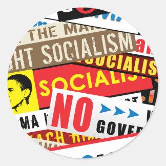 Ninguna propaganda socialista pegatina redonda