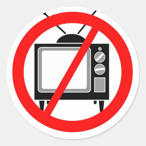 NINGUNA TV - televisión/propaganda/el lavar el Pegatinas Redondas