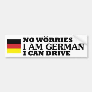 Ningunas preocupaciones que soy alemán yo pueden pegatina para coche
