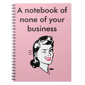 ninguno de su cuaderno del negocio