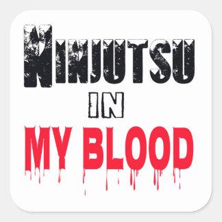 Ninjutsu en mi sangre calcomania cuadradas