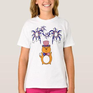 Niño 4to de la camisa feliz del gato de julio