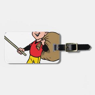 Niño alegre del boy scout limpio de la litera buen etiquetas de maletas