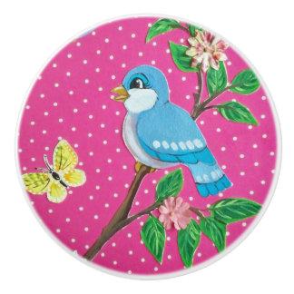 Niño azul del botón de puerta del tirón del cajón pomo de cerámica