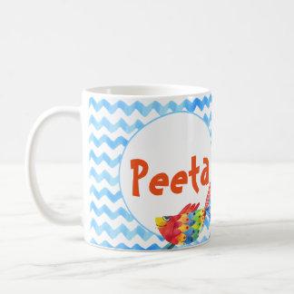 Niño conocido personalizado de la acuarela del mar taza de café