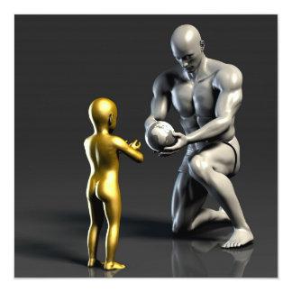 Niño de enseñanza del padre como concepto en 3D Invitación 13,3 Cm X 13,3cm