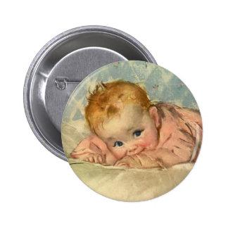 Niño de los niños del vintage niña linda en la ma pin