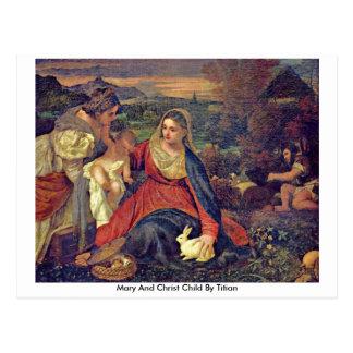 Niño de Maria y de Cristo por Titian Postal
