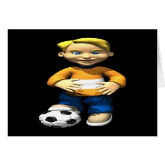 Niño del fútbol tarjeta