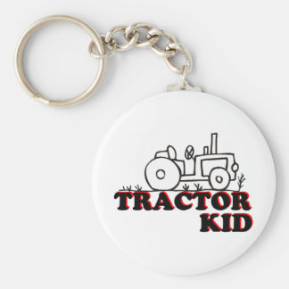 Niño del tractor llavero redondo tipo chapa