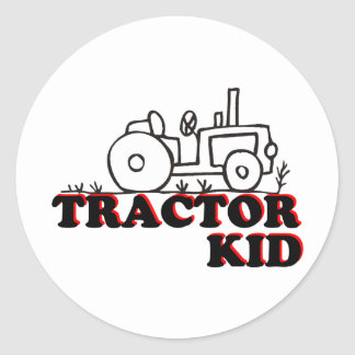 Niño del tractor pegatina redonda