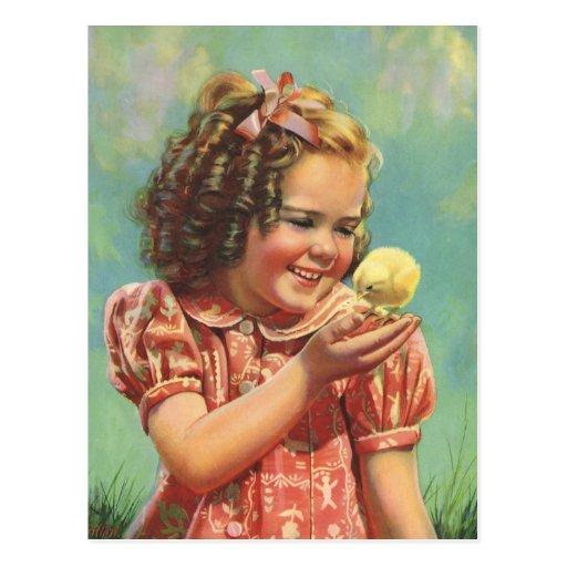 Niño del vintage, sonrisa feliz, chica con el poll tarjeta postal