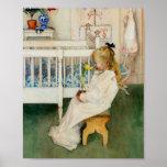 Niño en cuarto de niños con el tulipán amarillo posters