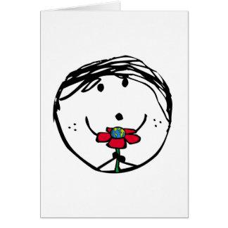 Niño feliz para un mejor mundo tarjeta de felicitación