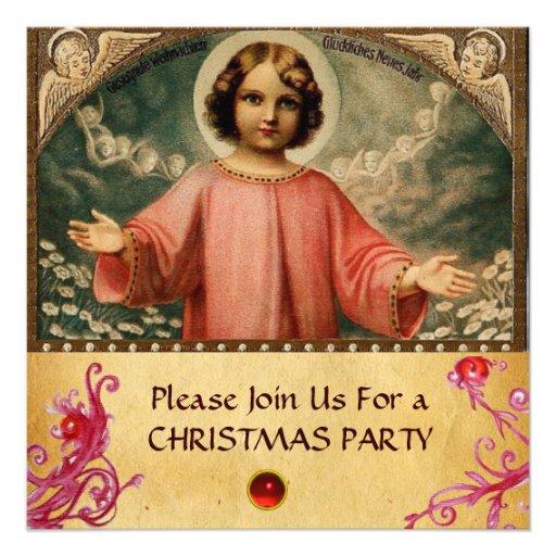 NIÑO JESÚS CON ÁNGELES, pergamino Invitaciones Personalizada
