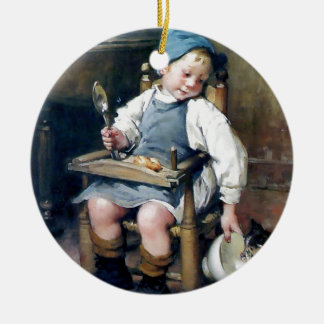 Niño que da la comida a la pintura de la antigüeda ornamentos de reyes magos