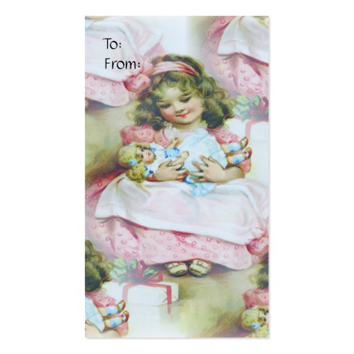 Niño y muñeca - etiqueta del vintage del regalo tarjetas de negocios
