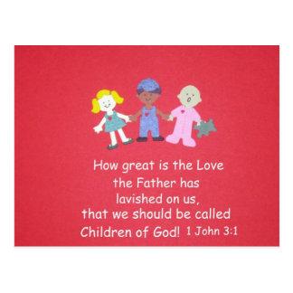 Niños con verso de la biblia postal