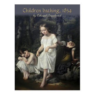 Niños de Eduard Steinbrück que bañan la postal