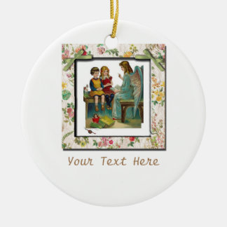 Niños de enseñanza del ángel adorno navideño redondo de cerámica
