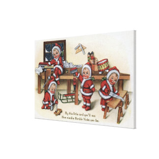 Niños de GreetingLittle del navidad Impresión En Lienzo