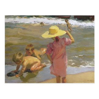 Niños de Joaquín Sorolla- en la costa Postal
